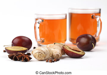 Plum tea with spices - Plum tea with ginger, anise and clove...