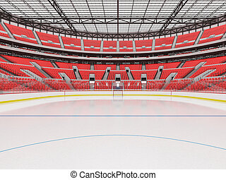 Beautiful sports arena for ice hockey with red seats VIP...