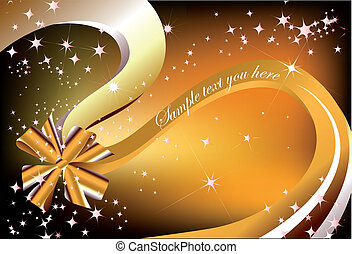 Christmas present ribbon gold bow. Vector illustration