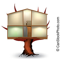 The cut house on a tree. Vector illustration