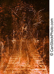 Mystical woman angel standing at staircase with the portal...
