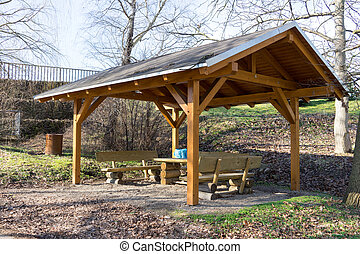 Shelter with table and benches