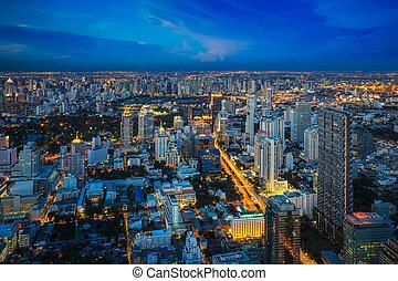 Rooftop viewpoint from Mahanakorn building see Bangkok city,...