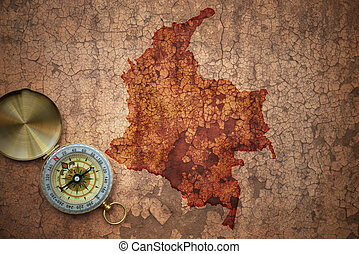 map of colombia on a old vintage crack paper background with...