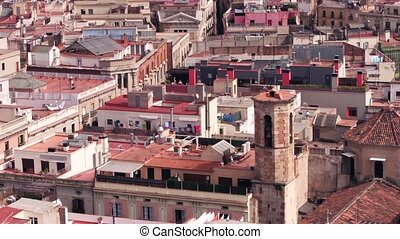 Barcelona residential area rooftops, Spain. 4K pan video -...