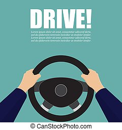 Hands hold the steering wheel of the car. Vector...