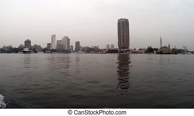 Cairo Egypt view from boat sailing on Nile river