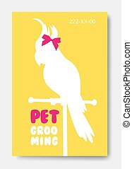 Banner with parrot silhouette. Business card design template. An