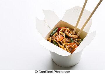 Korean noodles on white background - Korean noodles in white...