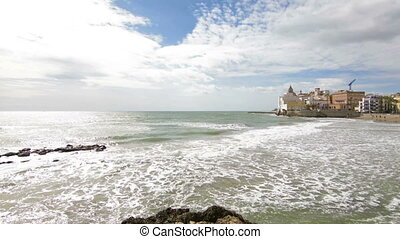 View of the San Sebastian Beach in Sitges, Spain - View of...