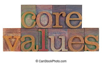 core values - ethics concept - core values words in vintage...
