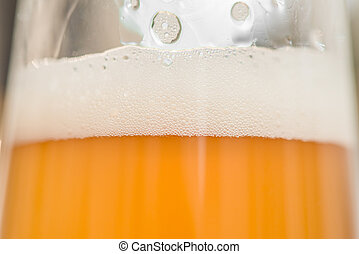 Closeup of a glass with wheat beer