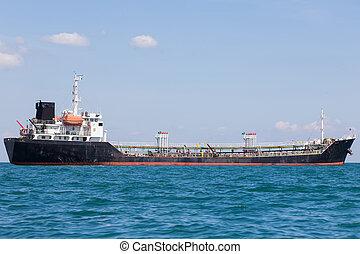Transportation ship in ocean skyline