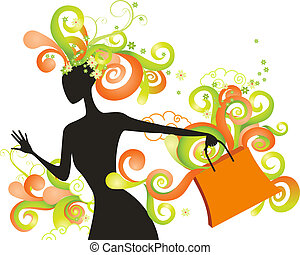 Whimsical shopping girl with color swirls
