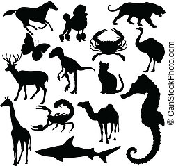 animal of the world vector silhouettes
