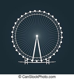 Ferris wheel silhouette. Carousel icon. Vector illustration.