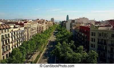 Barcelona major street aerial rising shot, Spain. City...