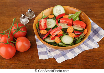 Fresh Tossed Salad with Tomatoes - A fresh green salad of...