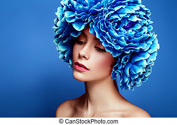 肖像画, スタイル, 花, 若い, 美しさ