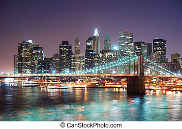 New York City Manhattan - New York City Brooklyn Bridge and...