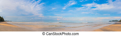 the beach on sunny day. - Panorama image of the beach on...