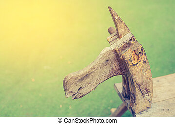 vintage tone wooden horse toy. - vintage tone image of...