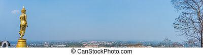 Wat Phra That Kao Noi, Nan, Thailand. - panorama image of...