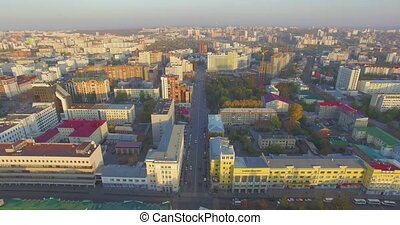 Ufa city at sunset in center. Aerial view - Aerial view of...