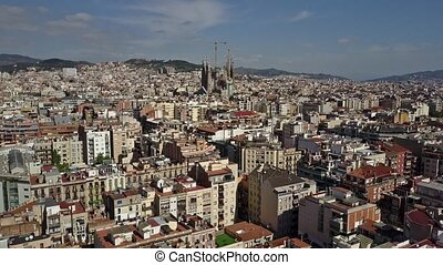 Aerial shot of famous Sagrada Familia - Basilica and...