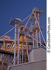 grain elevator at night - industrial abstract - top of a...