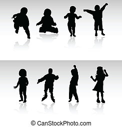 babies and children vector silhouettes