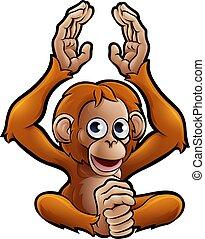Orangutan Safari Animals Cartoon Character - An orangutan...
