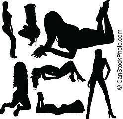 babes vector silhouette