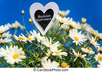"Heart with Margeriten, text, ""Congratulations"", blue..."