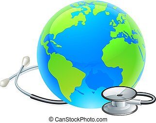 Stethoscope Earth World Globe Health Concept