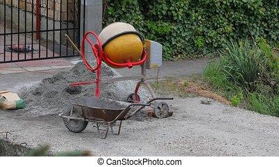 Concrete Mixer Spinning - Concrete mixer spinning at a...