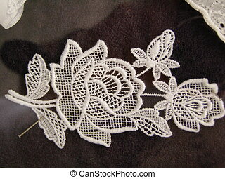 Flemish lace from Belgian Flanders (Bruges area) isolated...