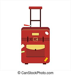Flat red color trip suitcase for tourism vacation, with...