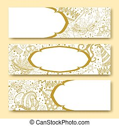 Purim golden banners collection - Purim banners collection...