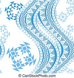 Sea waves seamless pattern. Tribal blue and white...