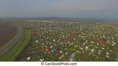 Aerial view of the Russian countryside in autumn near of Ufa