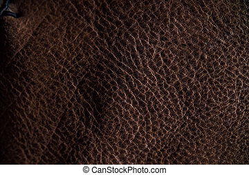 Macro fragment of a leather bag or purse. Handmade, texture...