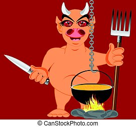 Devil in hell - Cartoon line beside caldron with knife and...