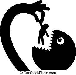 The monster eats a painless man - Black monster silhouette...