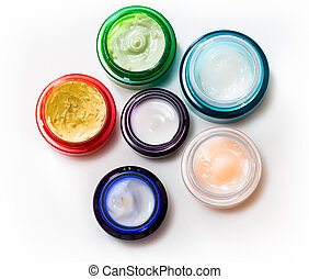 Set of different cosmetics cream