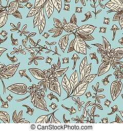 Vintage color spices seamless pattern