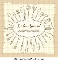 Kitchen vintage background with crockery frame