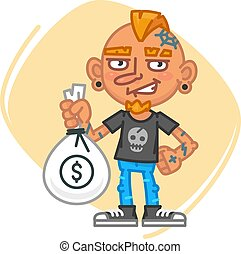 Tattoo Artist Holding Big Bag of Money. Vector Illustration....