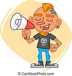 Tattoo Artist Speaks Into Megaphone. Vector Illustration....