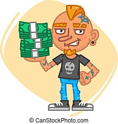 Tattoo Artist Holds Lot Money. Vector Illustration. Mascot...